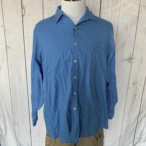 NWT NEW mens blue khaki VAN HEUSEN royal herringbone wrinkle free dress shirt